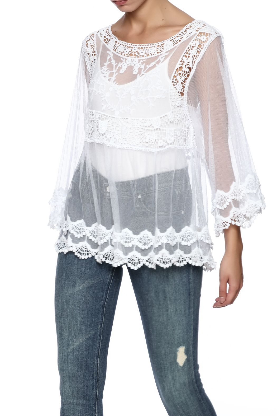 63c36a2c9b3 Sheer lace blouse with crochet detailing