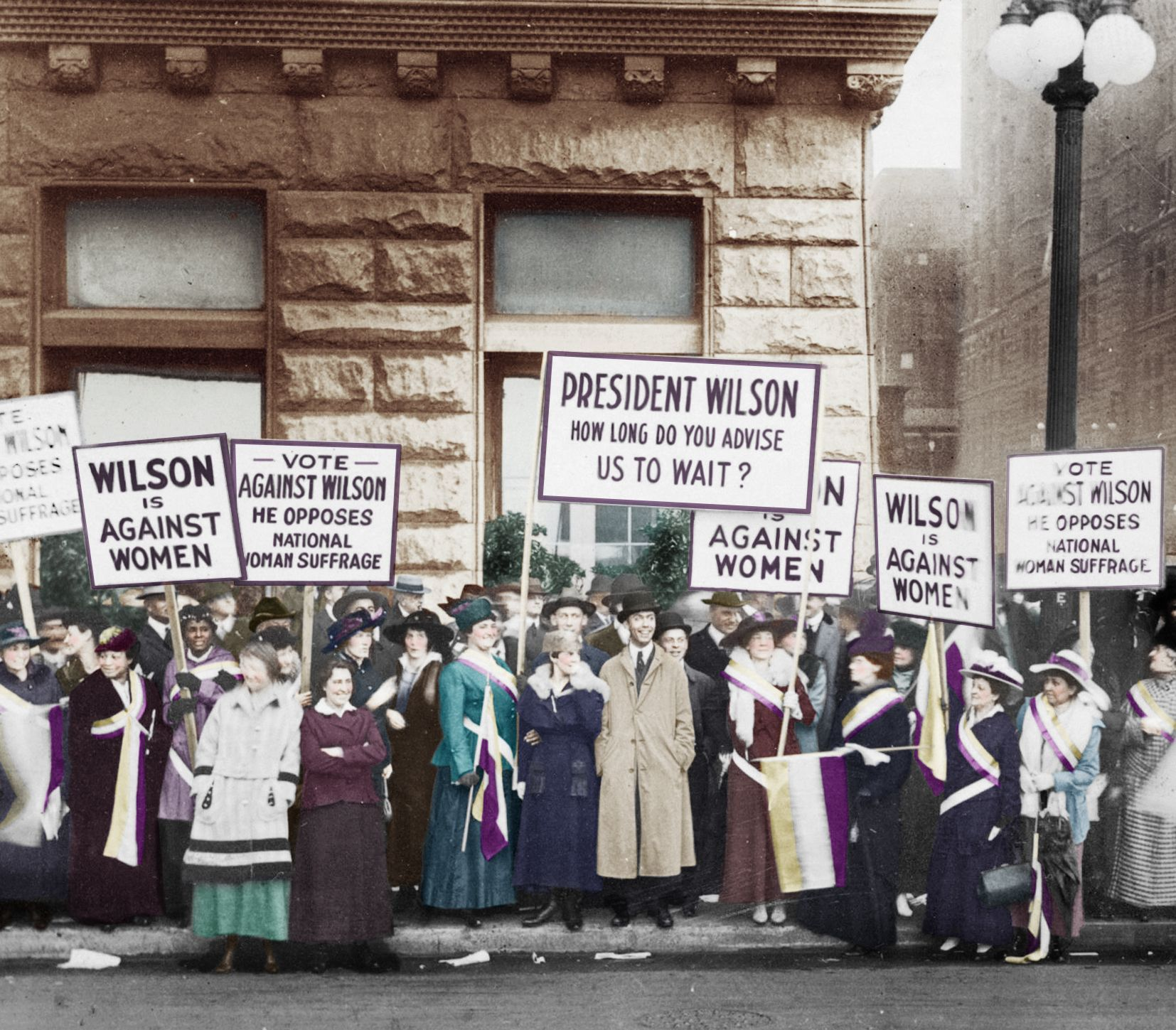 In This 1916 Photo Suffragettes Loyal To Alice Paul Campaigned Against President Wilson S Re Election Because Suffragette Colours Women In History Suffragette [ 1449 x 1654 Pixel ]