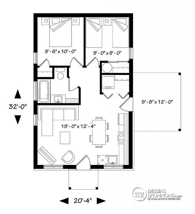 W1910-BH1 - Plan de maison moderne rustique, 2 chambres, aire