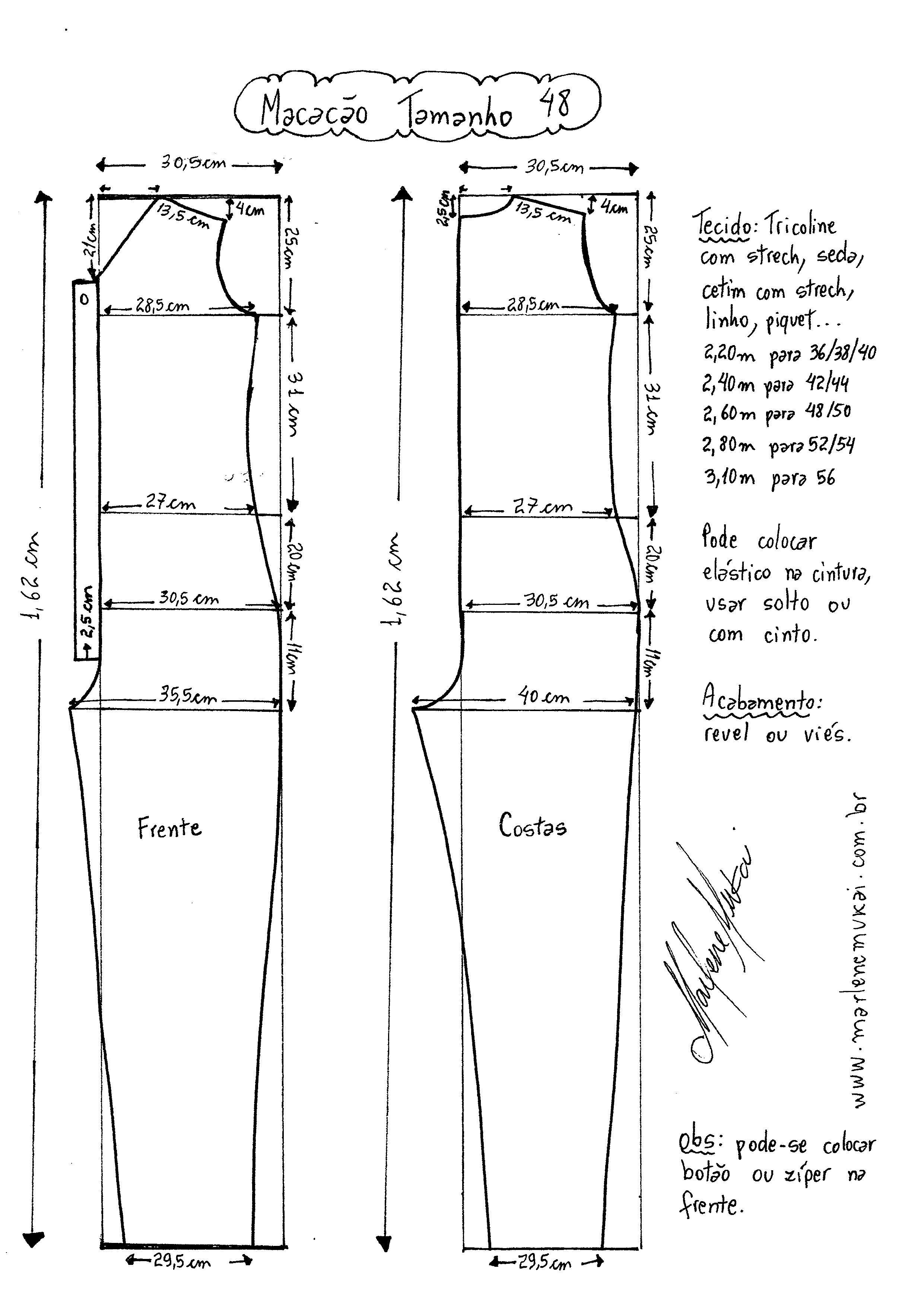 Macacão Longo | patrones | Pinterest | Costura, Ropa y Patrones