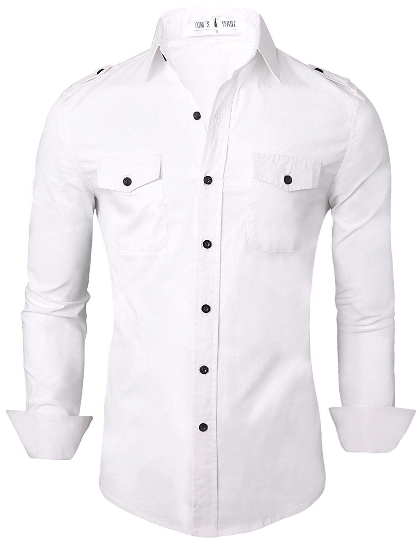 a150c438f Tom's Ware Mens Stylish Slim Fit Plain Button Down Dress Shirts - White -  C511QBCX4UL,Men's Clothing, Shirts, Dress Shirts #men #fashion #clothing  #style ...