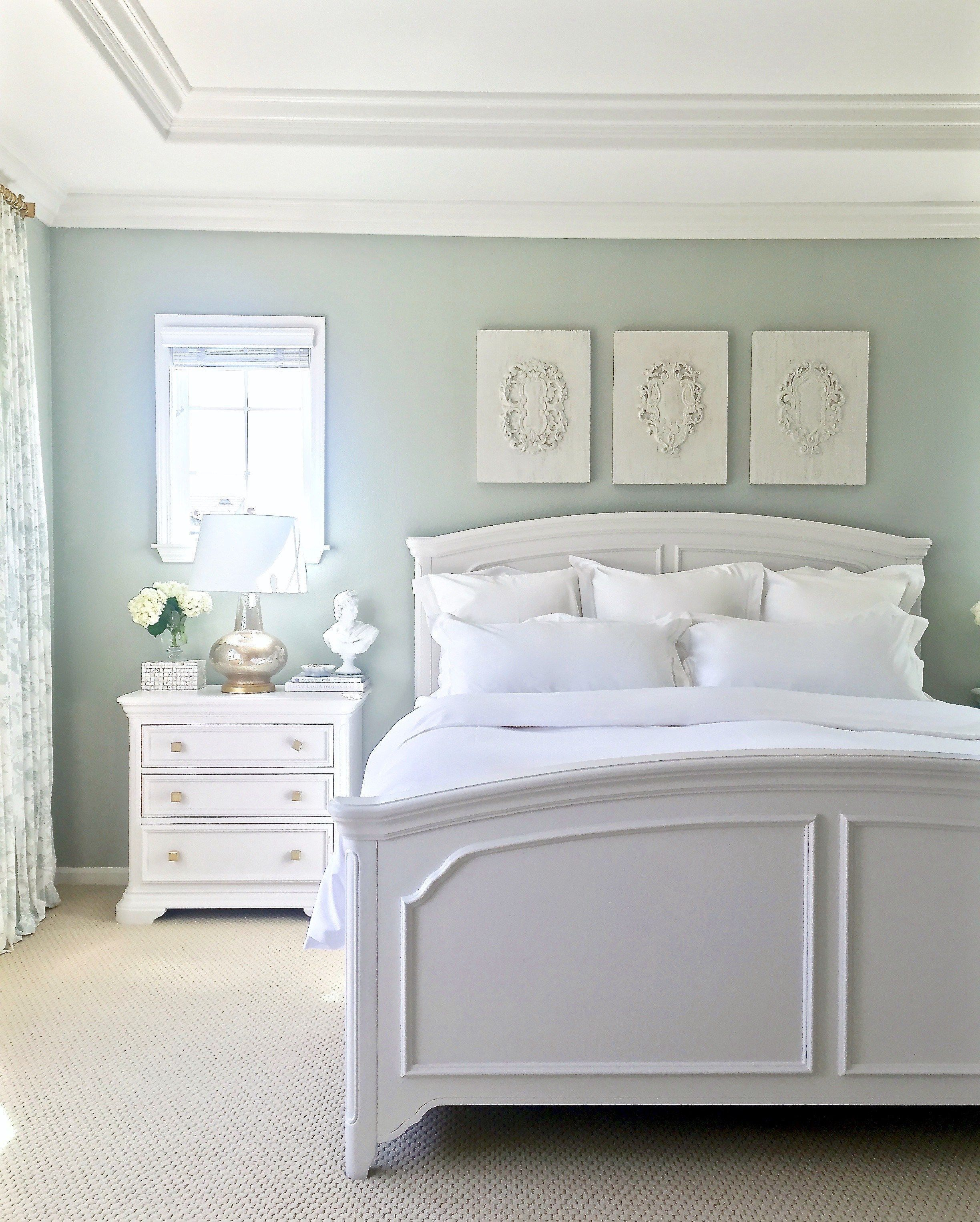 Light Green Paint Colors For Bedroom With White Furniture And Floor In 2020 White Wall Bedroom Bedroom Wall Colors Bedroom Furniture Sets
