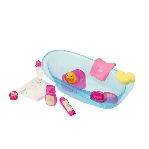 you me bath tub for 16 inch baby dolls includes accessories and rubber duckie blue tub. Black Bedroom Furniture Sets. Home Design Ideas