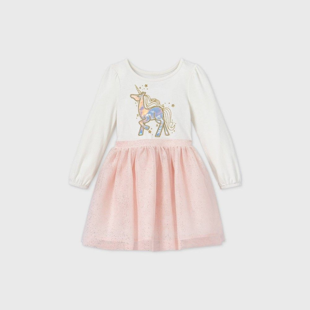 Toddler Girls Unicorn Sparkle Tulle Long Sleeve Dress Cat Jack Cream 4t Ivory Cream Long Sleeve Dress Long Sleeve Dress Dressy Fashion [ 1000 x 1000 Pixel ]