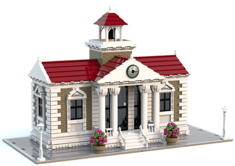Giacinto Consiglio designed a wonderful traditional public elementary school. The facade has quite a few layers of detail and would make a great addition to any LEGO town.