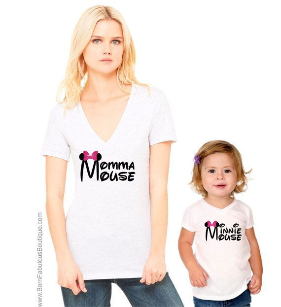 Mama Mouse and Mini Mouse Mothers and daughters white t-shirt and baby grow set.