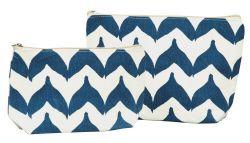 Navy Blue Torana Chevron Cotton Canvas Zippered Cosmetic Bags Set of 2