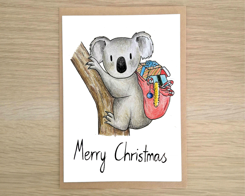 Cute Koala Christmas Card Cute Christmas Card Aussie Etsy Hand Drawn Christmas Cards Etsy Cards Aussie Christmas