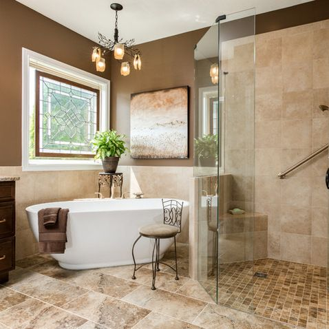 Roll In Shower Free Standing Tub Houzz Home Design Bathroom Design Smallbathroom