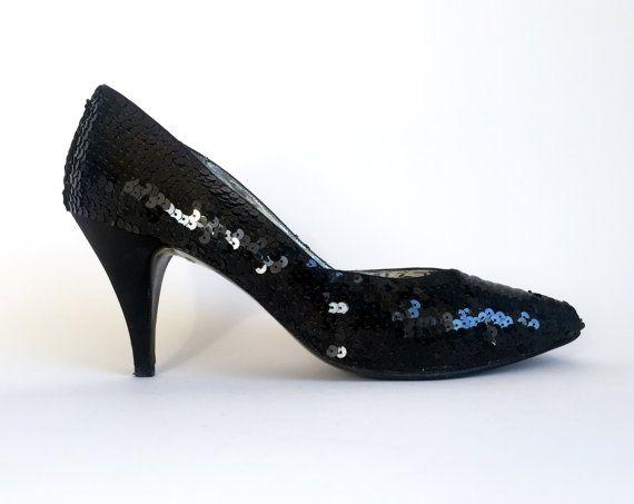 womens black sequin shoes
