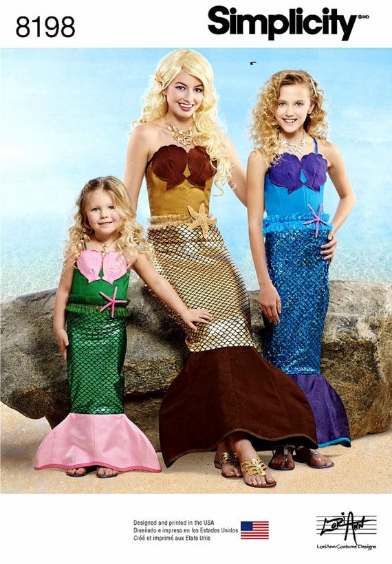 Mermaid Costumes Pattern in Child Girls' and Adult by blue510