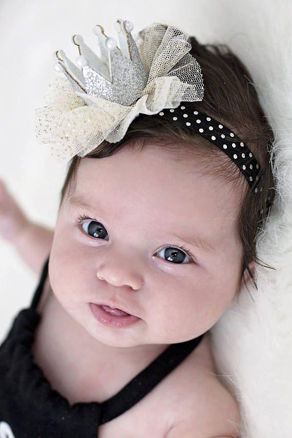 Princess Crown Headband - Silver Crown Headband - First Birthday Crown Head  Band - Infant Crown Head 459c6fc70ff