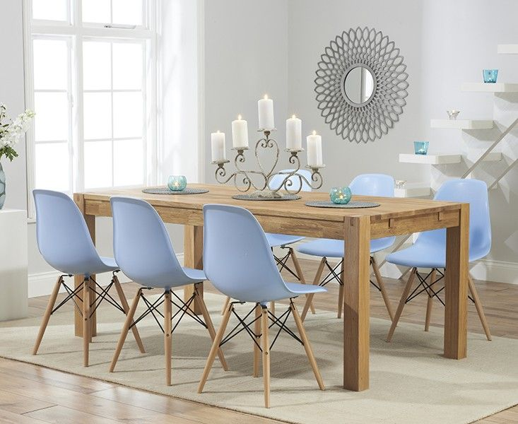 Buy The Verona 150cm Solid Oak Dining Table With Charles Eames Style DSW Eiffel Chairs At