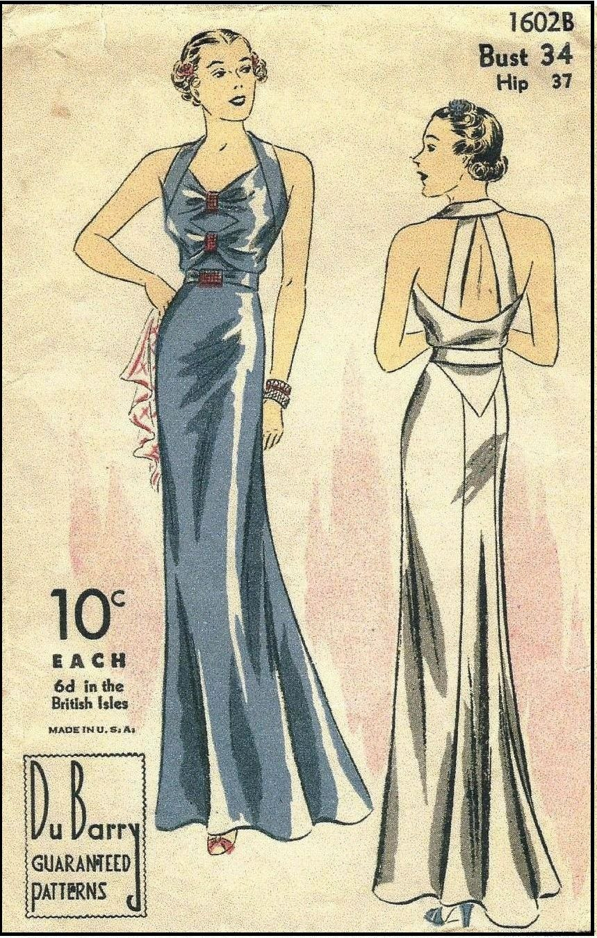 1930s Evening Gown with Back Bands Sewing Pattern - Du Barry #1602B ...