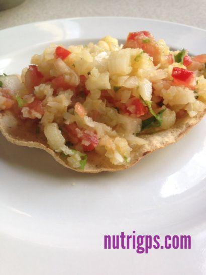 Ceviche de coliflor sin gluten vegan