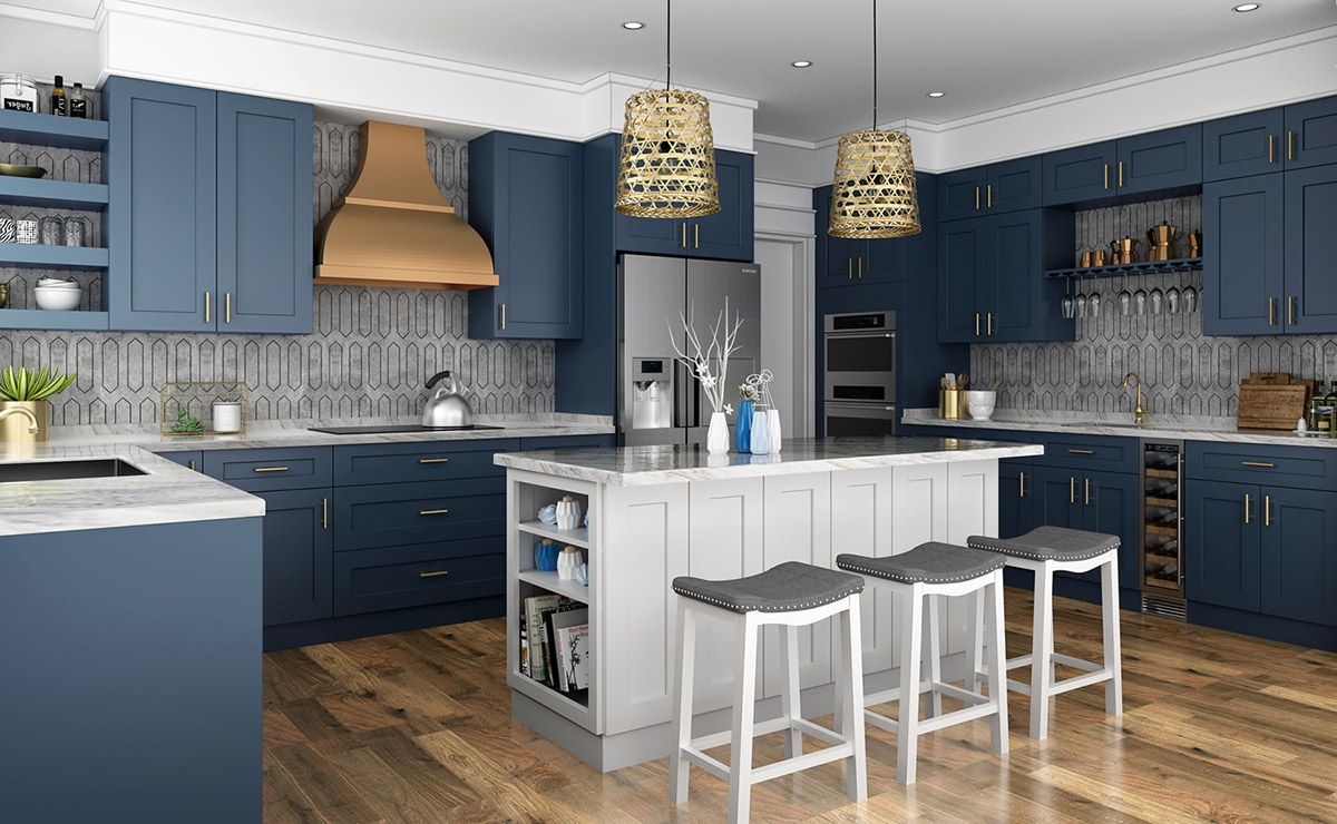 Navy Blue Shaker Kitchen Cabinets In 2020 Assembled Kitchen Cabinets Frameless Kitchen Cabinets Blue Kitchen Cabinets