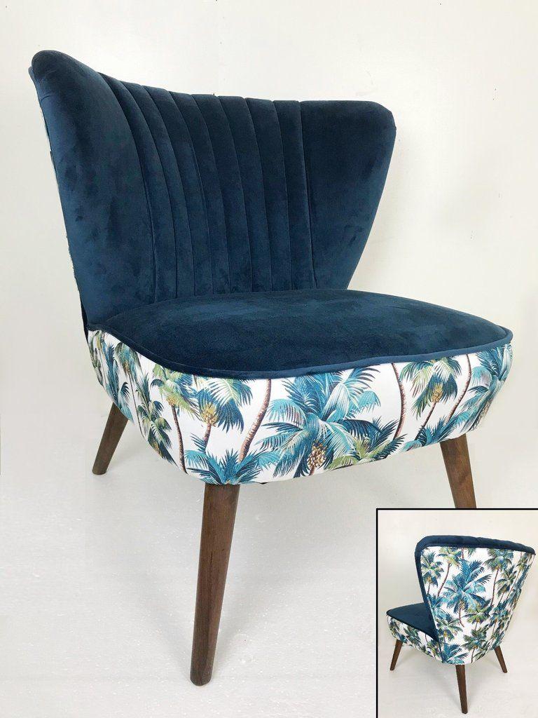 Blue Velvet Botanical Print Occasional Chair Thrills Of