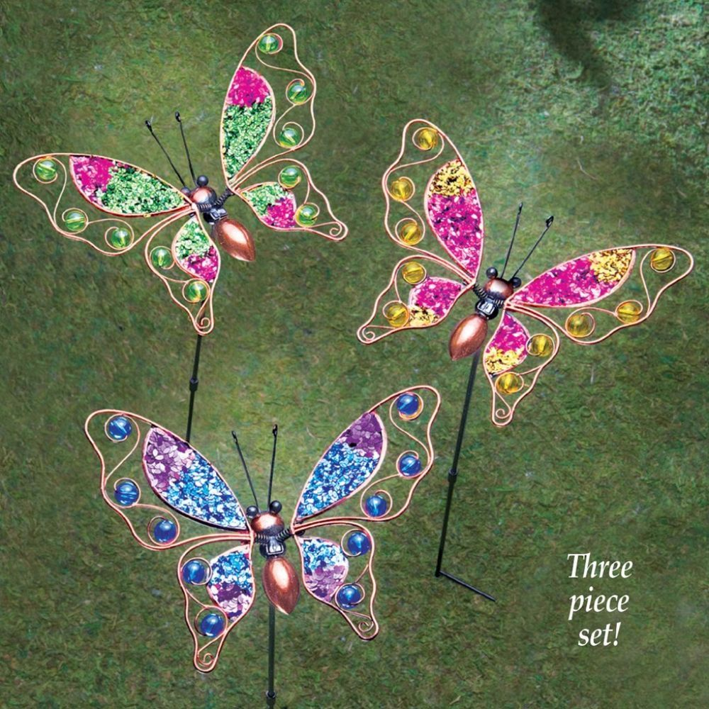 Colorful Glitter and Glass Beads Butterfly Garden Stakes Yard Decor ...