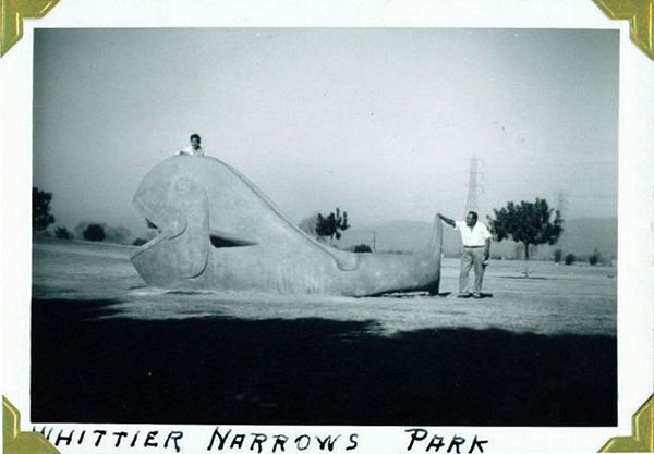 Historical photo of whale play sculpture at Legg Lake | Photo courtesy of Friends of La Laguna