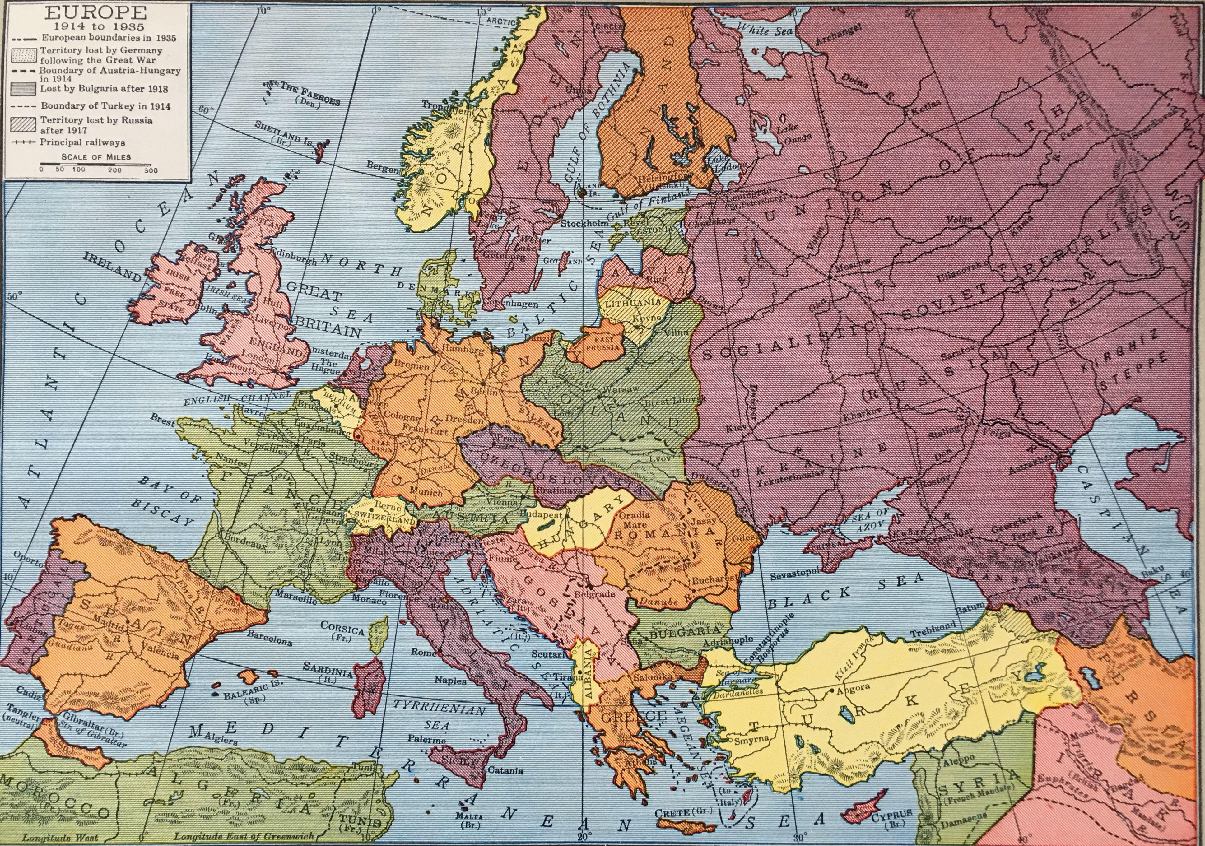 Europe From 1914 To 1935 Rand Mcnally Company 1946