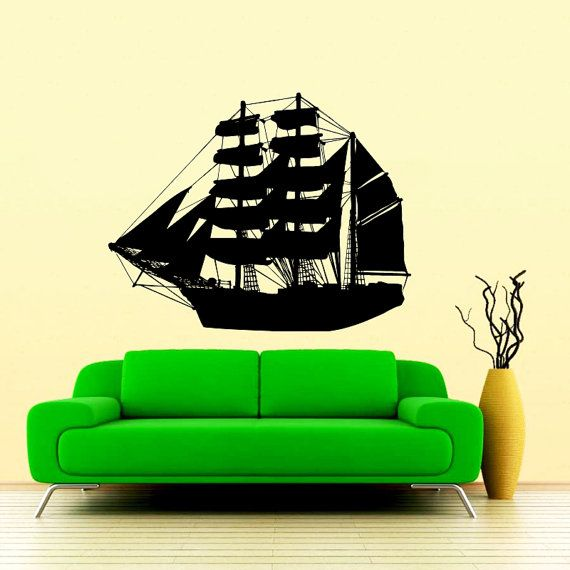 Pirate Ship Wall Decal Nautical Sea Boat Ocean от SuperVinylDecal ...
