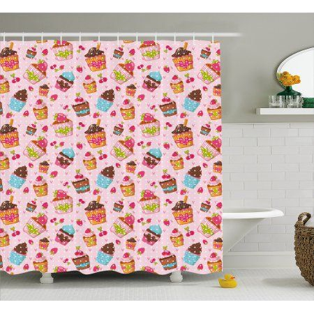 Pink Shower Curtain Decorations For Kitchen Cupcakes Muffins Strawberries And Cherries Print F Pink Shower Curtains Cupcake Bathroom Decor Kid Bathroom Decor