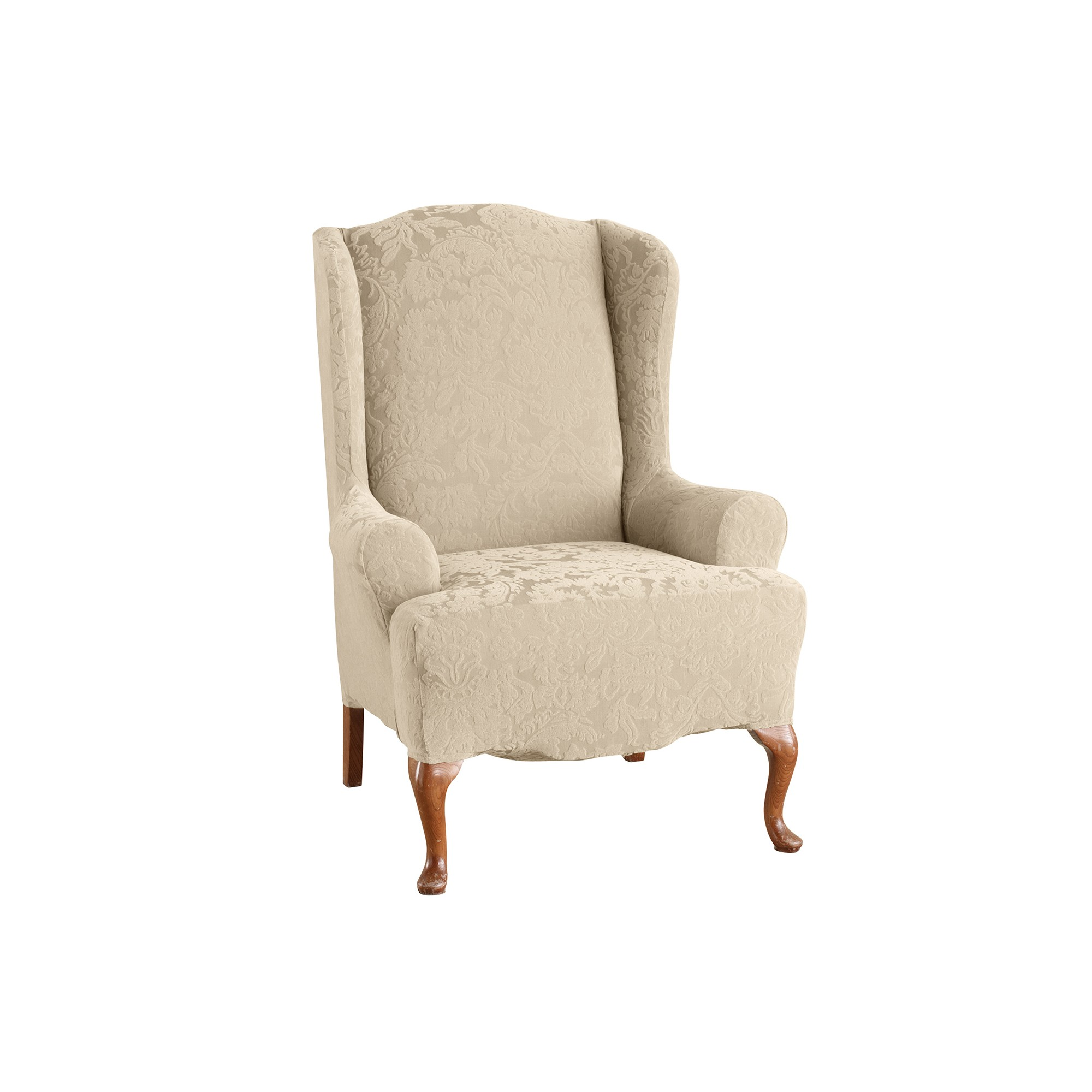 Stretch Jacquard Wing Chair Slipcover Oyster Sure Fit