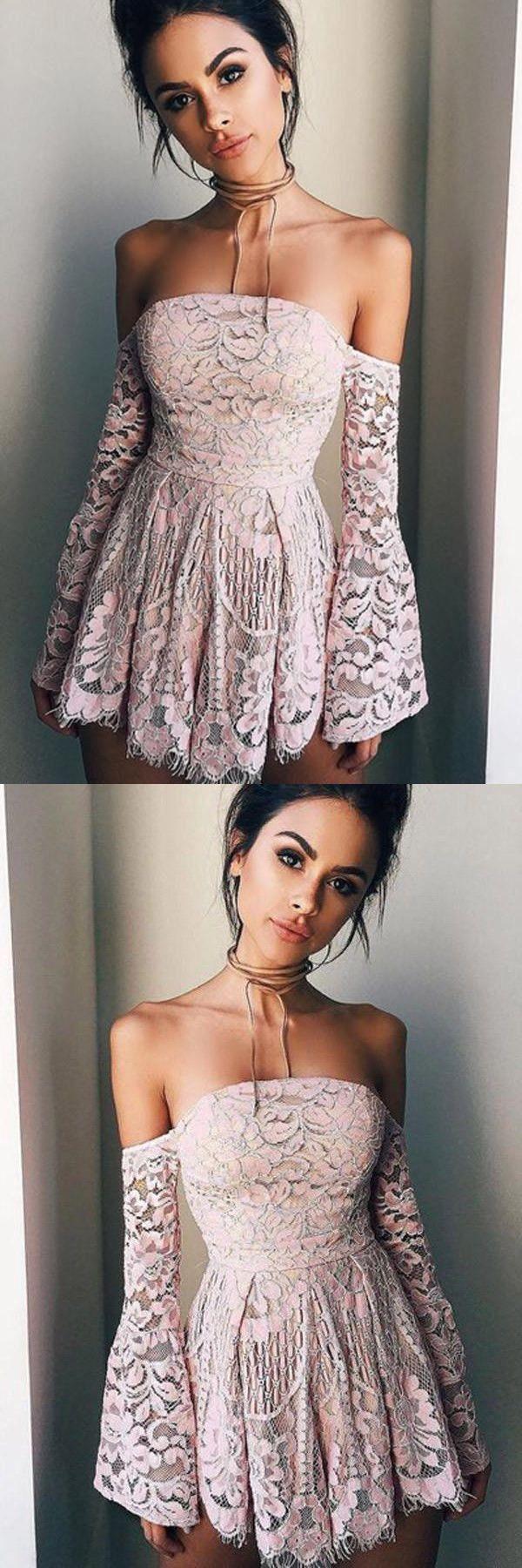 Off shoulder long sleeves pink short prom dresseshomecoming dresses