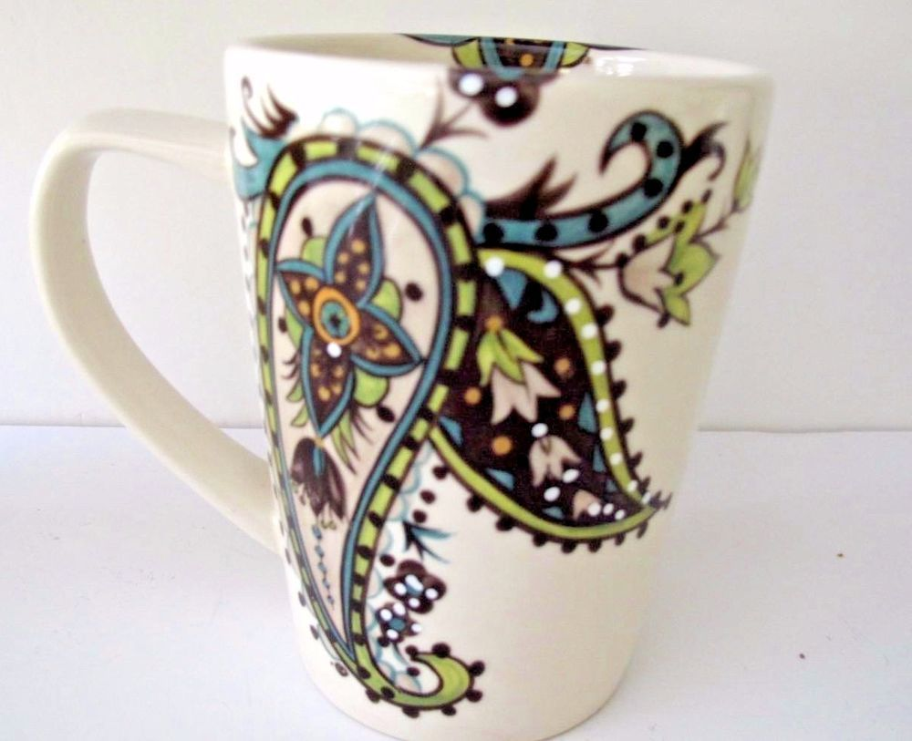 Tabletops Gallery Hand Painted Angela Coffee Mug Cup Paisley Flowers Green  Blue