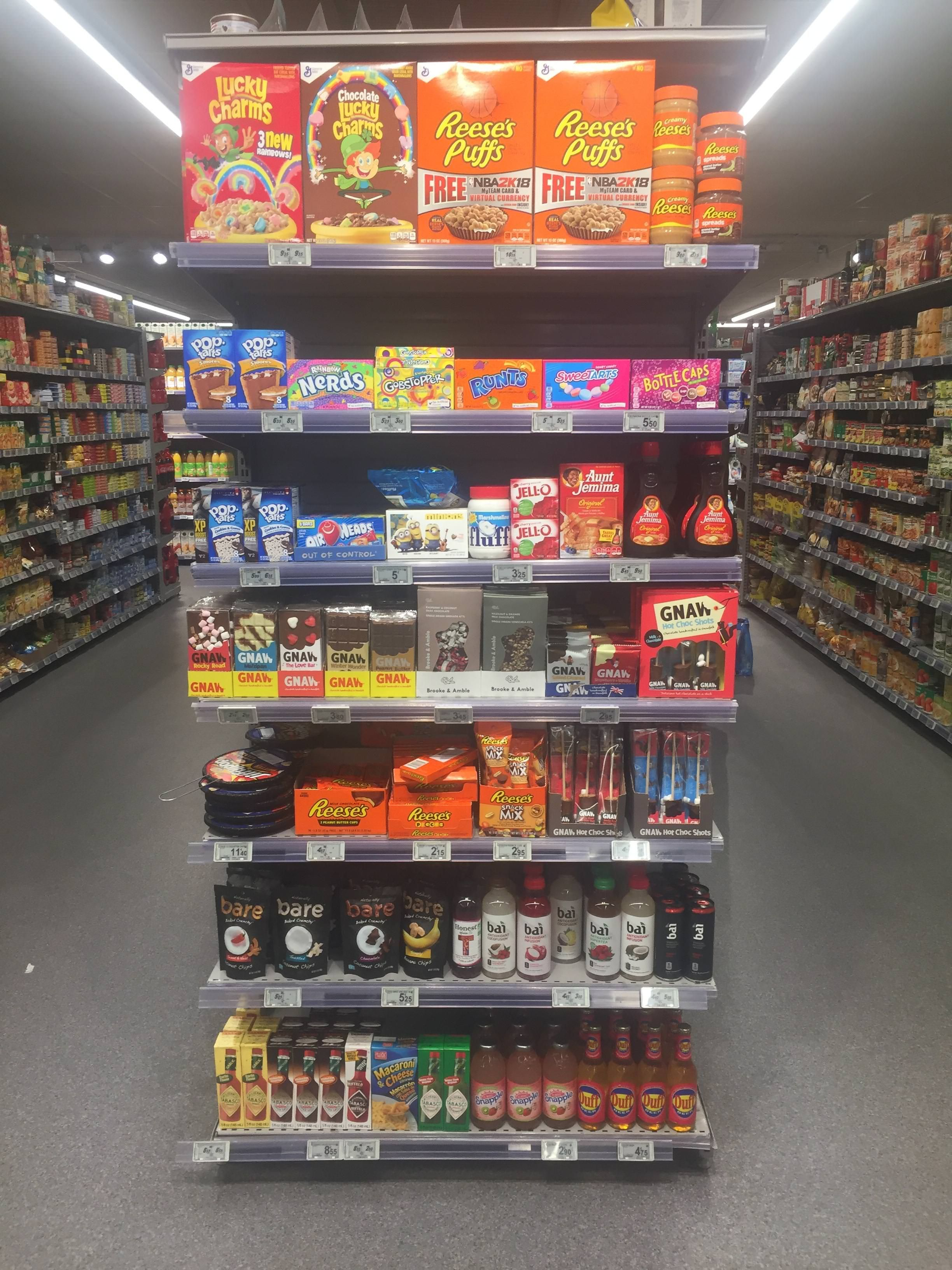 American aisle in French supermarket compared with other