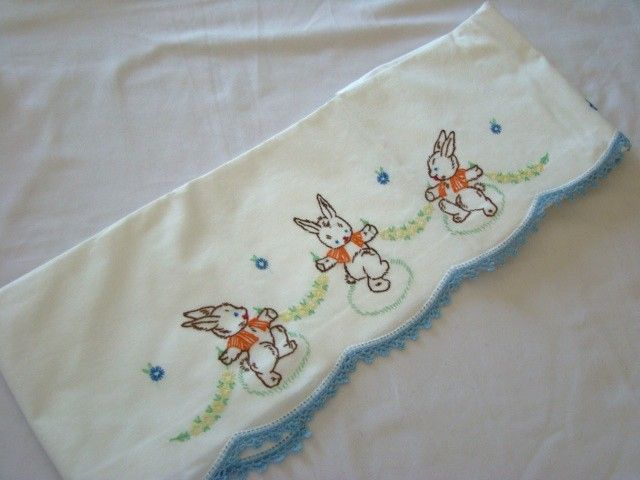 Adorable Vintage 1940s Embroidered Baby Crib Sheet, DANCING BUNNIES, from katkatkat on Ruby Lane