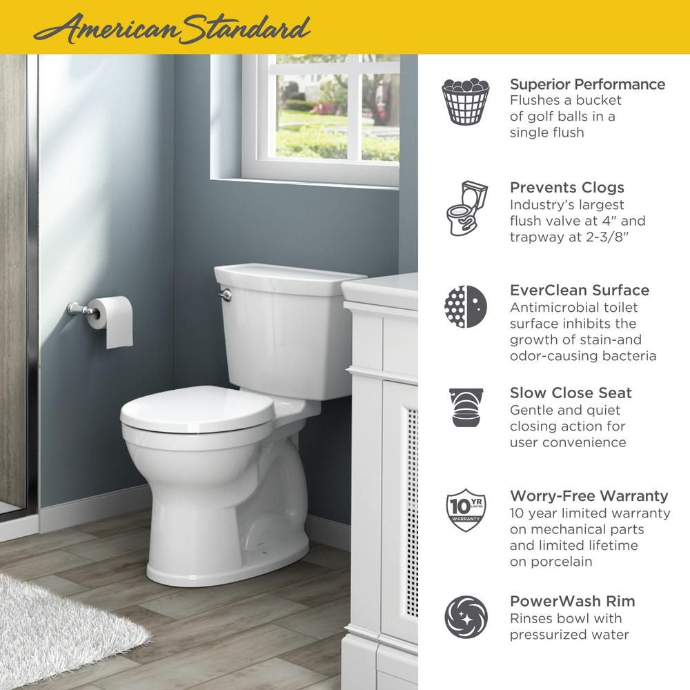 American Standard Champion 4 Max Tall Height 2 Piece Het 1 28 Gpf Single Flush Elongated Toilet In White With Slow Close Seat 2586 128st 020 American Standard Toilet Clogged Toilet