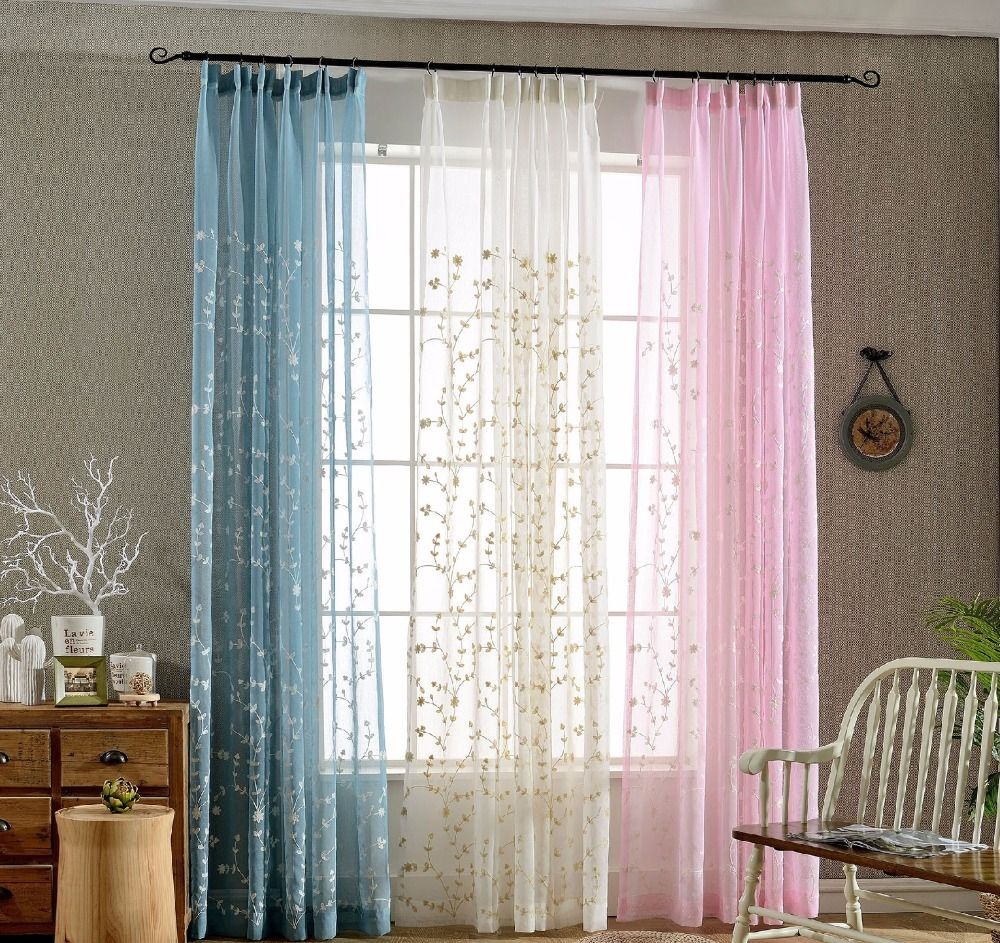 European white embroidered voile curtains bedroom sheer curtains for