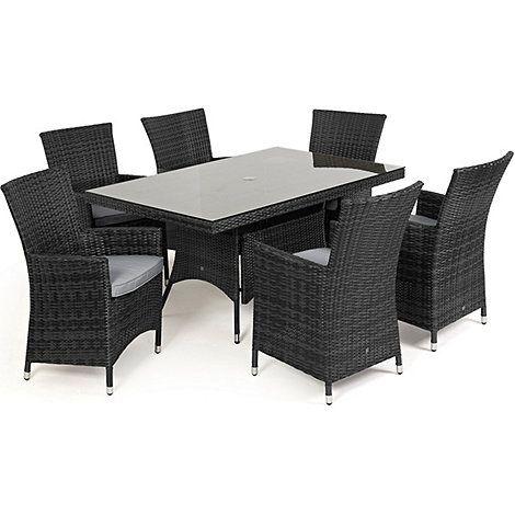 debenhams grey rattan effect la rectangular garden table and 6 chairs debenhams - Garden Furniture 6 Chairs