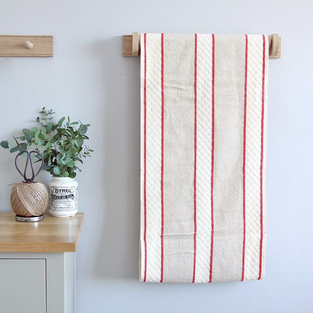 Solid Oak Roller Towel Holder With Red Towel Home Ideas Pinterest