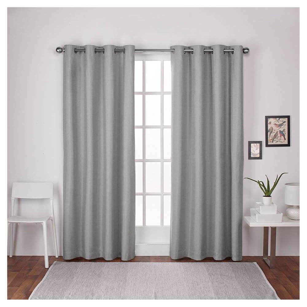 London Thermal Textured Linen Grommet Top Window Curtain Panel Pair
