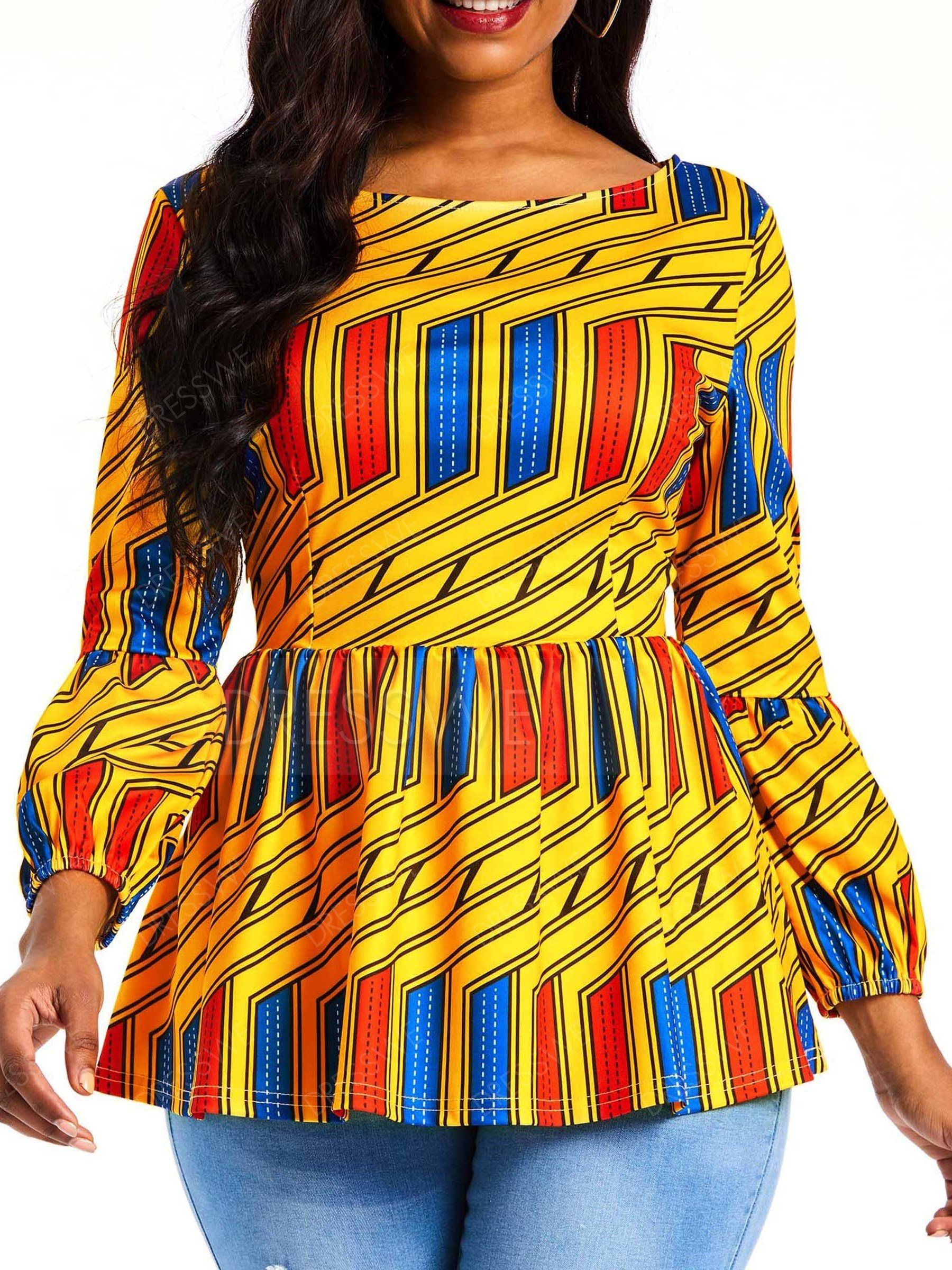 $21.99 Dresswe.com SUPPLIES Print Stripe Standard Nine Points Sleeve Womens Blouse