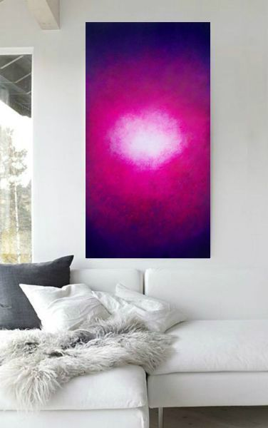 Bright and vibrant modern abstract painting in beautiful purple ...