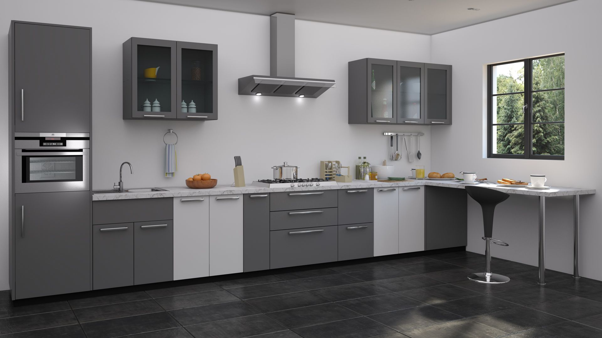 The new monochrome modular kitchen collection create your for Aluminium kitchen cabinets hyderabad
