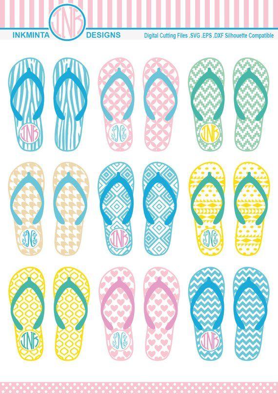 ce50dcf6f Flip Flops Monogram SVG