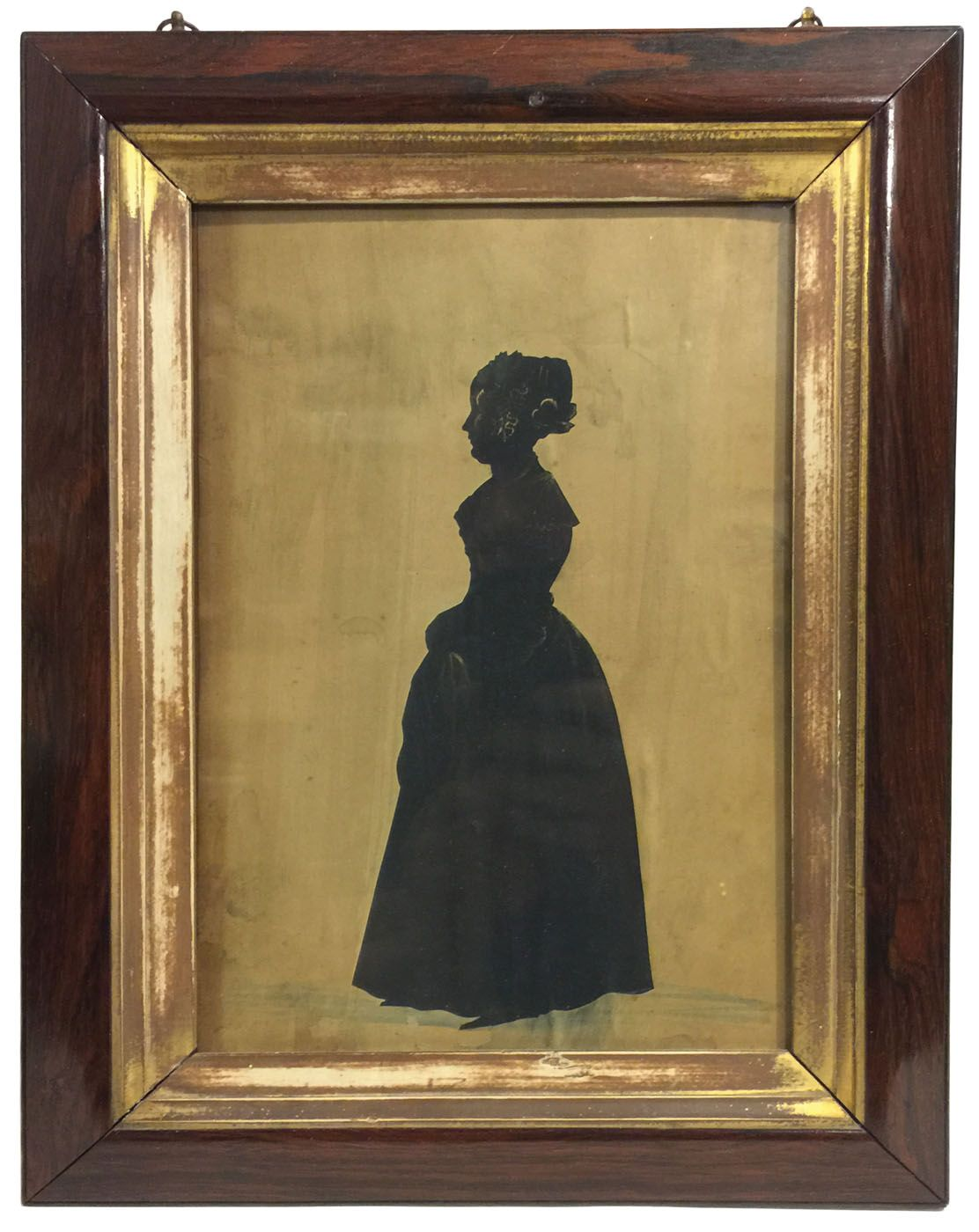 Full-length silhouettes: young lady facing left, in black with gilt highlights, attributed to Samuel Metford (1810-1896), (note: refer to Shades of Our Ancestors, p. 112), rosewood frame with gilt liner, 10 1/2″ x 7″ (sight);