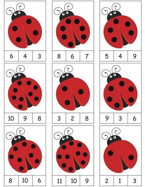 ladybug counting activity mehr zur mathematik und lernen allgemein unter zentral. Black Bedroom Furniture Sets. Home Design Ideas