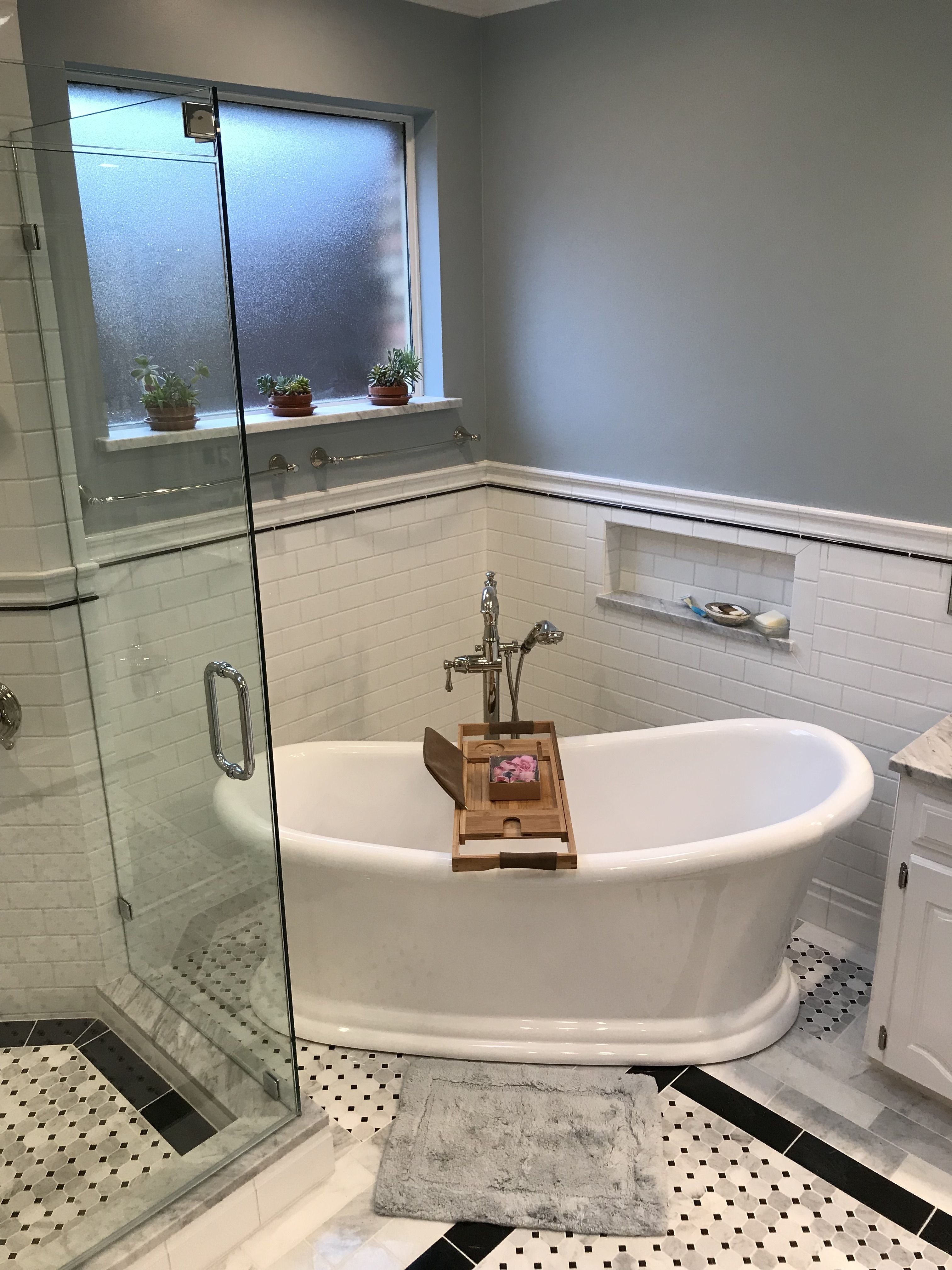 We just finished this gorgeous master bathroom in Dallas ...