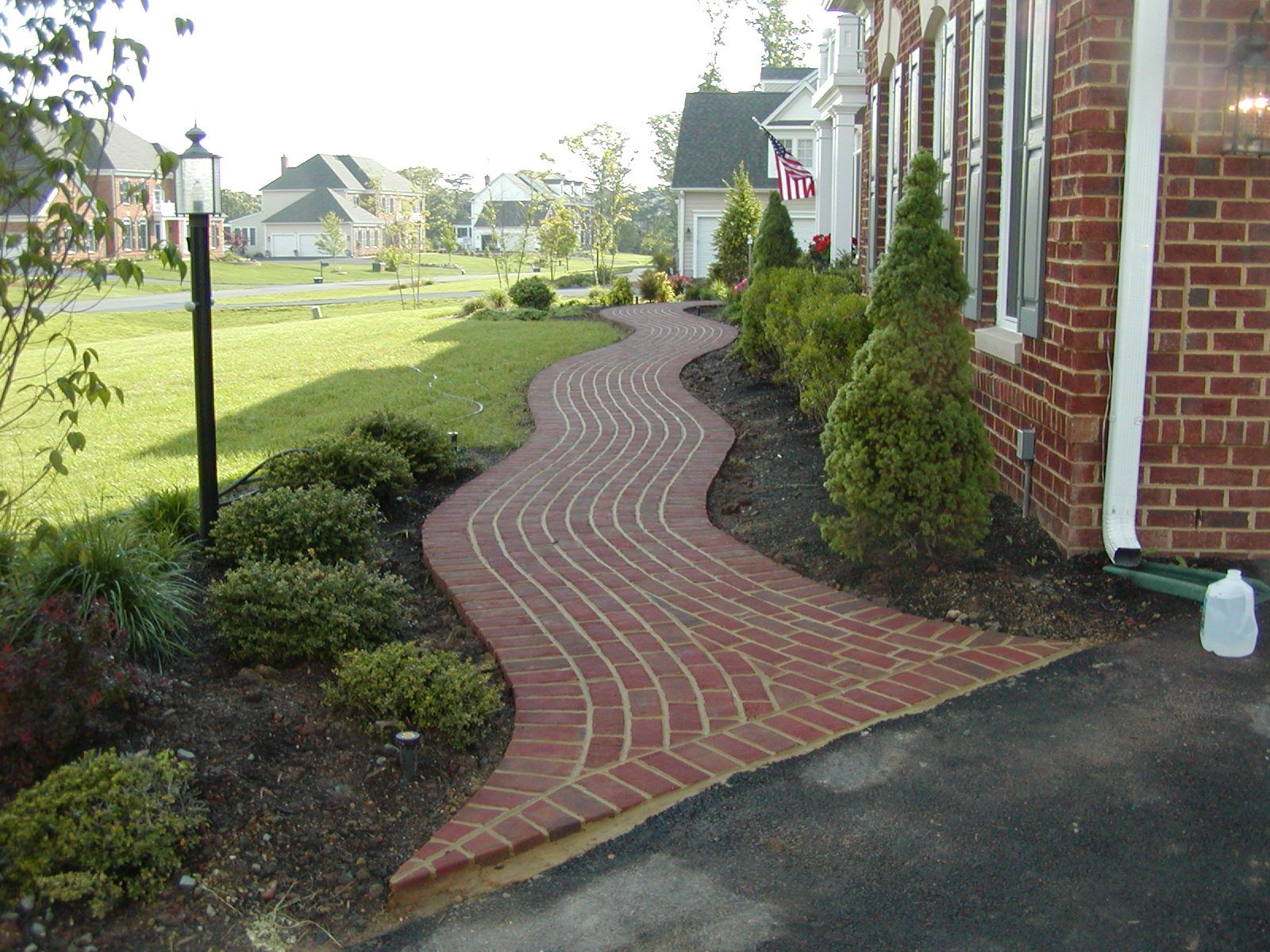 A Curved Brick Walkway In Chantilly Virginia Brick