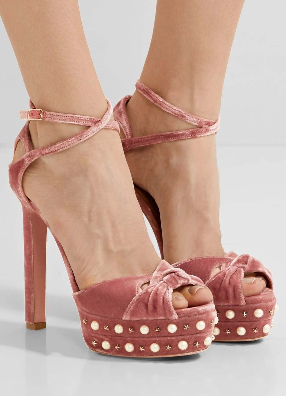 Aquazzura Harlow embellished velvet platform sandals | Buy ➜ https://shoespost.com/aquazzura-harlow-embellished-velvet-platform-sandals/