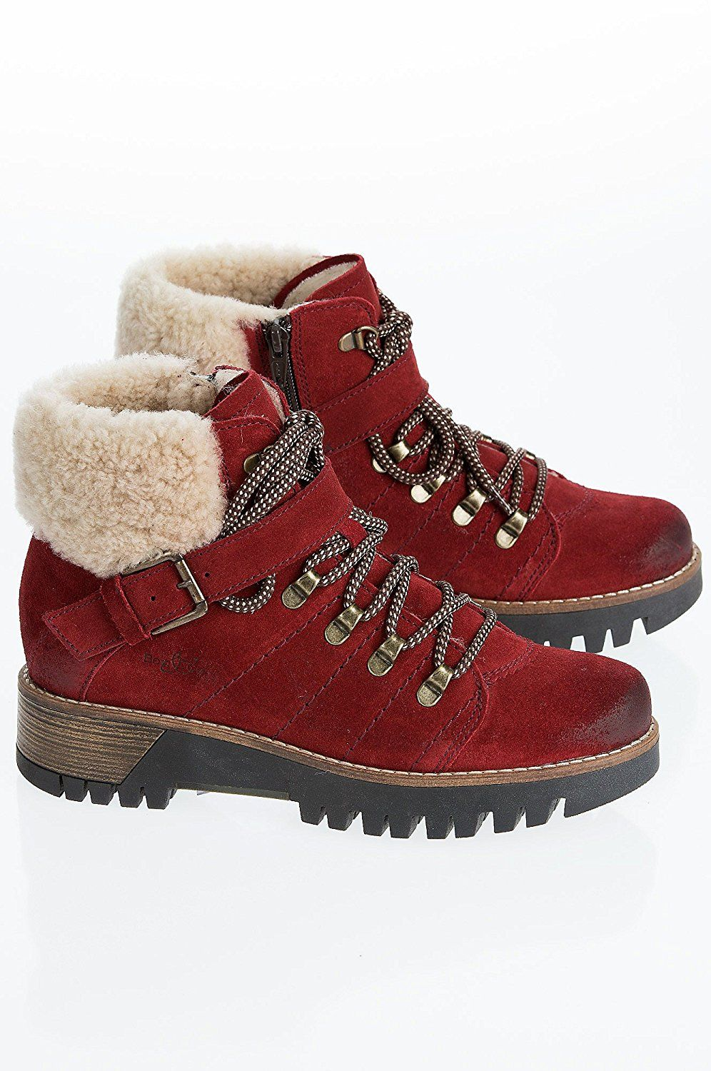 318435bd Amazon.com | Women's Overland Gail Wool-Lined Waterproof Leather Boots with  Shearling Cuffs, RED/NATURAL, Size EU39 | Snow Boots