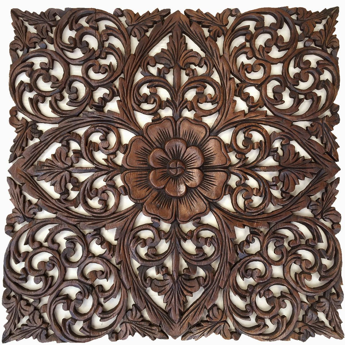 Oriental hand carved wood wall plaques large square floral wood