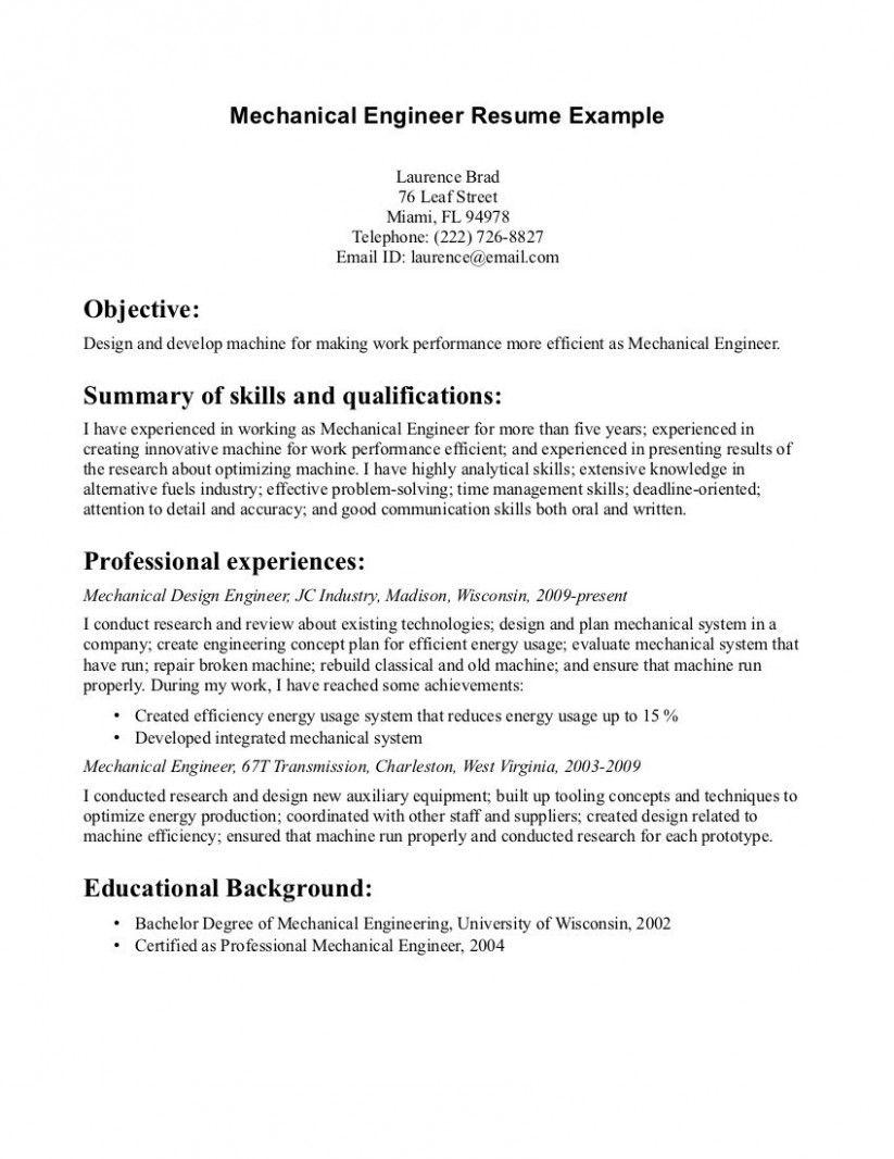 10 Mechanical Engineering Resume Goal