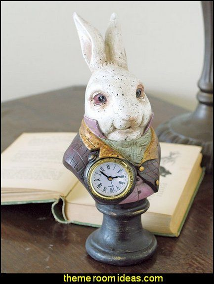 Alice in wonderlands white rabbit resin desk clock alice in wonderland bedroom decor alice in wonderland themed rooms design an alice in wonderland