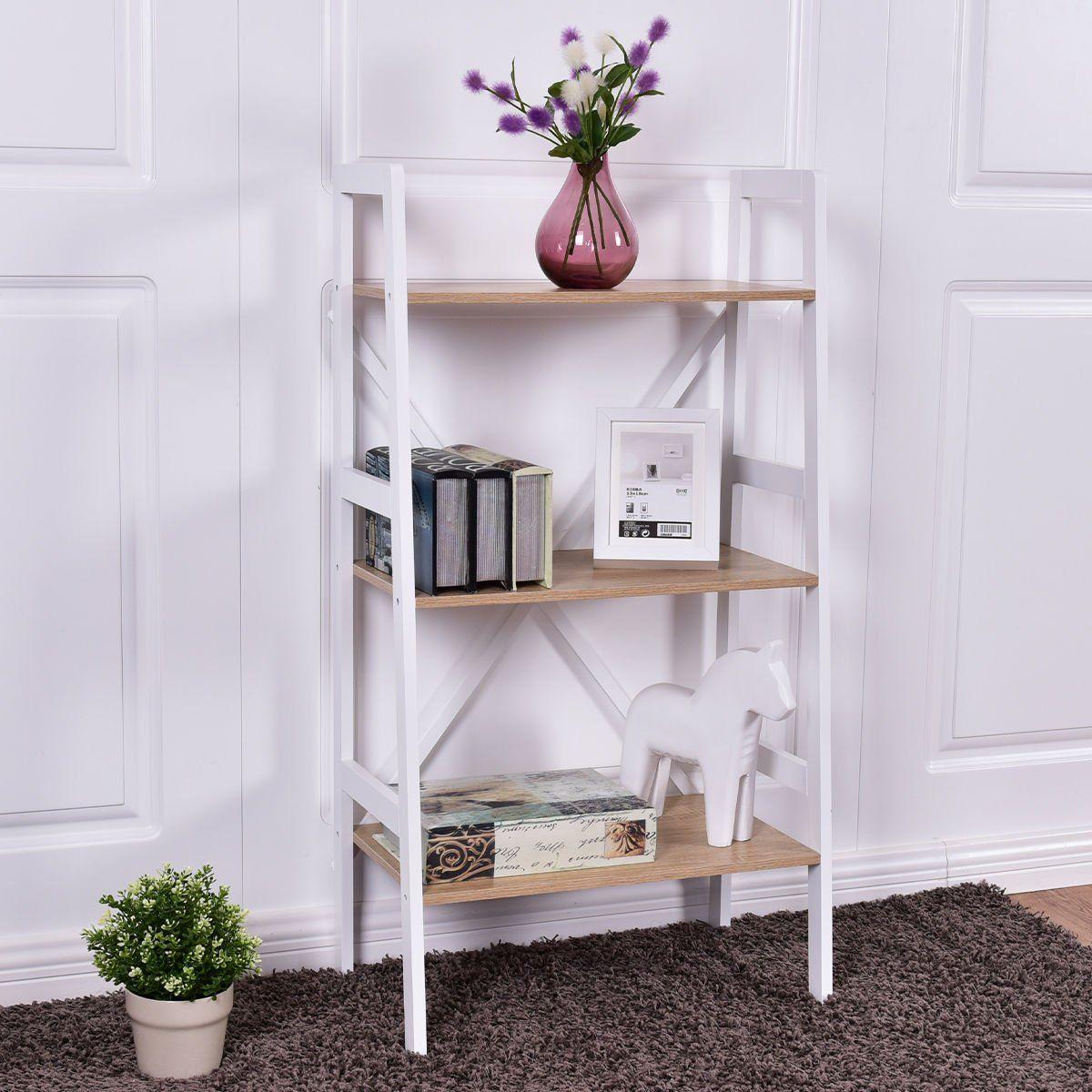 Bookshelf bookcase ladder storage shelves book rack new wall stand